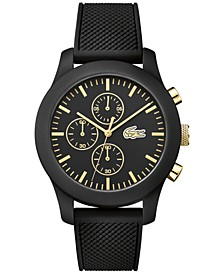 Men's Chronograph 12.12 Black Silicone Strap Watch 44mm 2010826