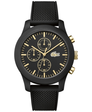 Lacoste Men's Chronograph 12.12 Black Silicone Strap Watch 44mm 2010826
