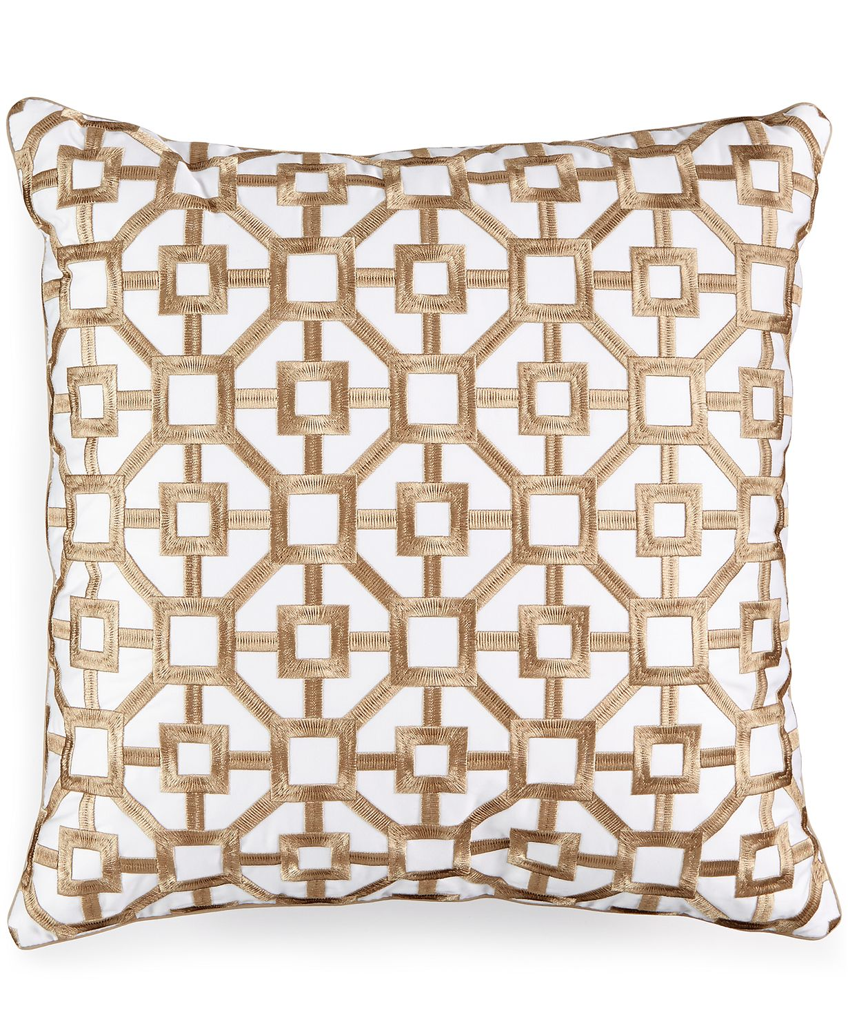 "Hotel Collection Embroidered Frame 18"" Square Decorative Designer Throw Pillow"