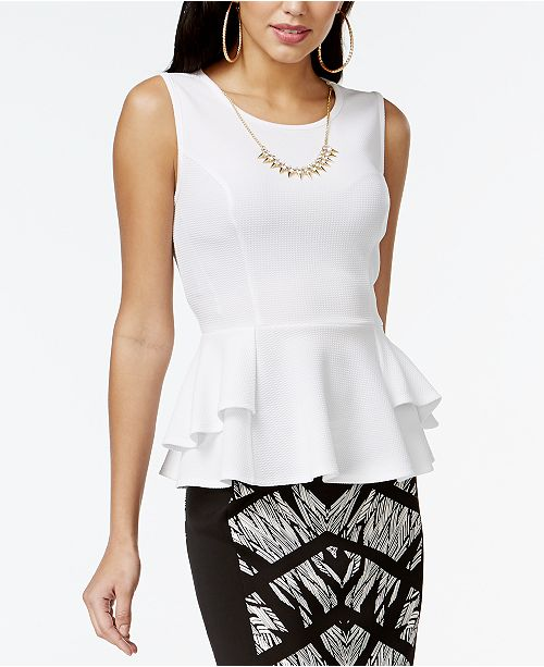 Thalia Sodi Textured Peplum Necklace Top, Created for Macy's