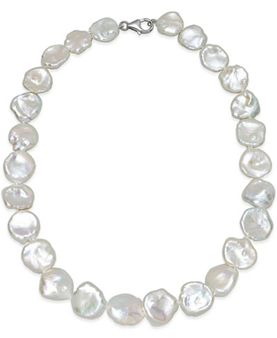Cultured Keshi Pearl Strand Necklace (12-15mm) in Sterling Silver