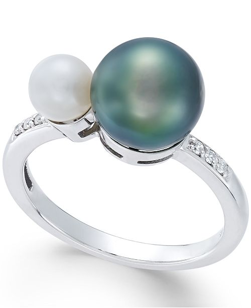 Macy's Cultured Freshwater Pearl (8mm and 5mm) and Diamond Accent Ring in 14k White Gold