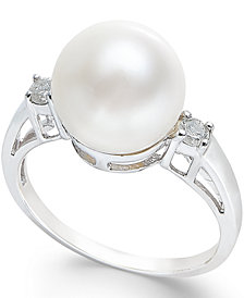 Cultured Freshwater Pearl (10mm) and Diamond Ring (1/10 ct. t.w.) in 14k White Gold