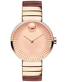 Movado Women's Swiss Edge Rose Gold-Tone PVD Stainless Steel Bracelet Watch 34mm 3680013