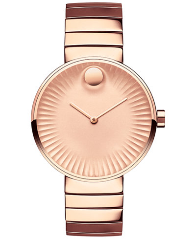 Movado Womens Swiss Edge Rose Gold Tone PVD Stainless