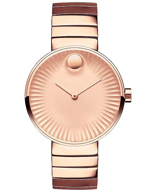 f4093e552 ... Movado Women's Swiss Edge Rose Gold-Tone PVD Stainless Steel Bracelet  Watch 34mm 3680013 ...