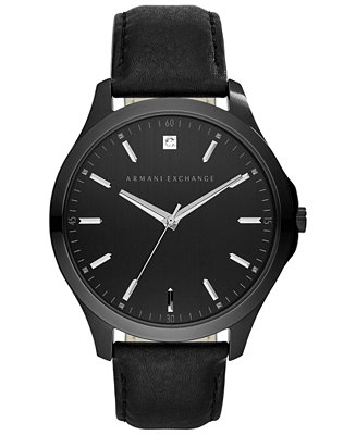 A|X Armani Exchange Men's Diamond Accent Black