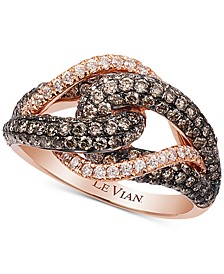 Chocolatier® Gladiator Knot™ White and Chocolate Diamond Ring (1-1/2 ct. t.w.) in 14k Rose Gold