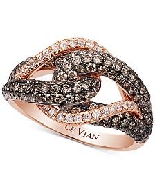 le vian chocolatier gladiator knot white and chocolate diamond ring 1 1 - Chocolate Wedding Rings