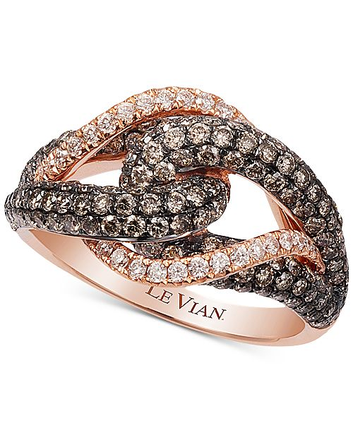 Le Vian Chocolatier® Gladiator Knot™ White and Chocolate Diamond Ring (1-1/2 ct. t.w.) in 14k Rose Gold