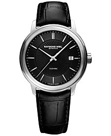 RAYMOND WEIL Men's Swiss Automatic Maestro Black Leather Strap Watch 40mm 2237-STC-20001