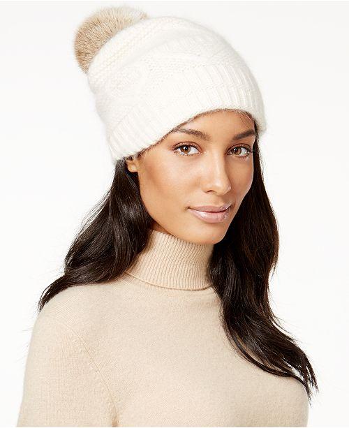 Surell Slouchy Knit Rabbit Fur Pom Beanie