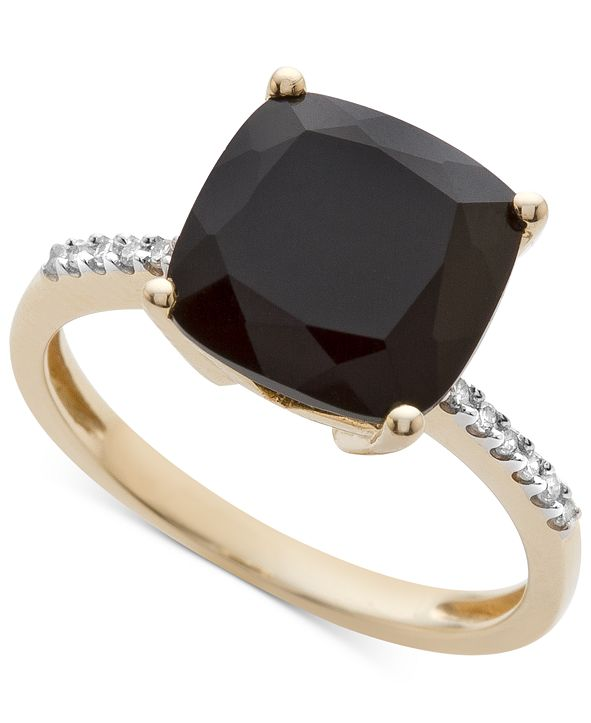 Macy's Onyx (1-1/6 ct. t.w.) and Diamond Accent Ring in 14k Gold