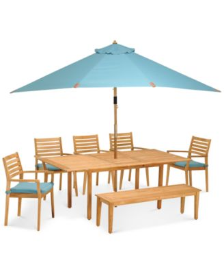 Anders Outdoor Teak 7 Pc. Dining Set (Dining Table, 5 Chairs And 1 Bench) Part 79