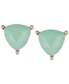lonna & lilly Gold-Tone Green Stone Trillion Stud Earrings