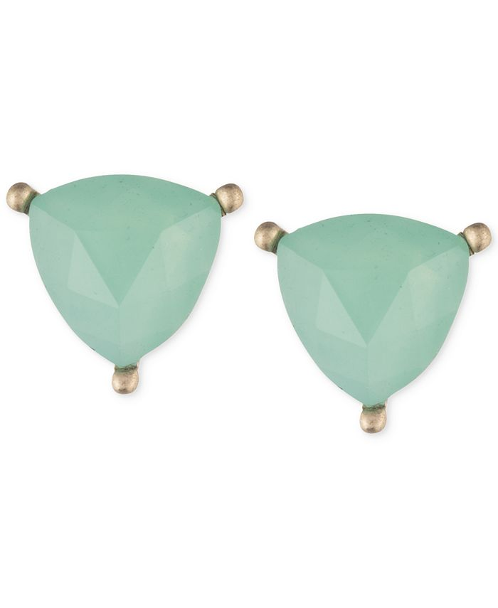 lonna & lilly - Gold-Tone Green Stone Trillion Stud Earrings