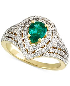 RARE Featuring GEMFIELDS Certified Emerald (1/2 ct. t.w.) and Diamond (5/8 ct. t.w.) Ring in 14k Gold
