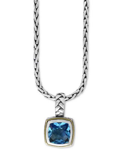 BALISSIMA by EFFY Blue Topaz (4-2/3 ct. t.w.) Pendant Necklace in 18k Gold and Sterling Silver