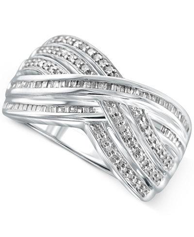 Diamond Crisscross Ring (1/2 ct. t.w.) in Sterling Silver