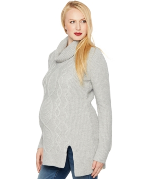 A Pea in the Pod Maternity Cowl-Neck Cable-Knit Sweater plus size,  plus size fashion plus size appare