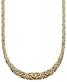 "Italian Gold 17"" Byzantine Necklace in 14k Gold"