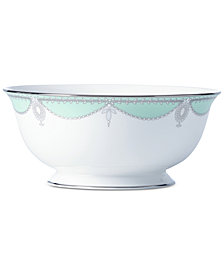 Marchesa by Lenox Empire Pearl Turquoise  Bone China Serving Bowl