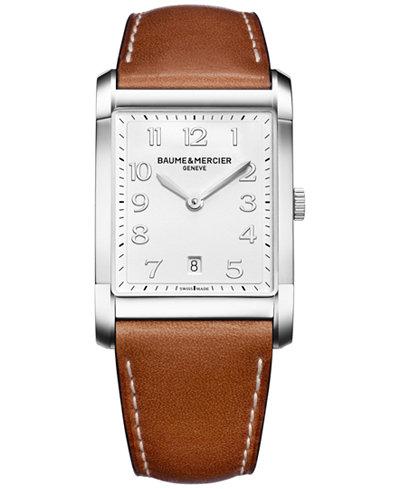 Baume & Mercier Men's Swiss Hampton Brown Leather Strap Watch 42x29mm M0A10153