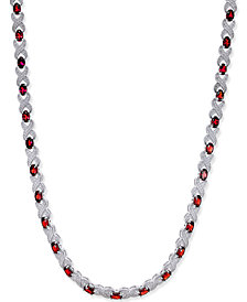 Garnet (20 ct. t.w.) and Diamond Accent Collar Necklace  in Sterling Silver