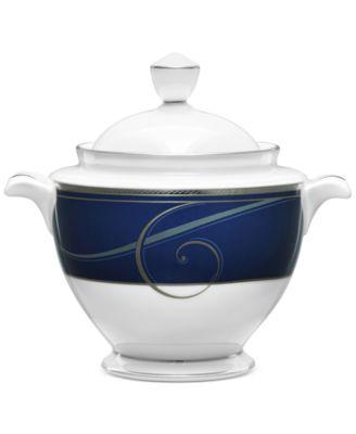 Platinum Wave Indigo  Porcelain 2-Pc. Lidded Sugar Dish