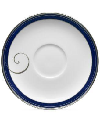 Platinum Wave Indigo Porcelain Saucer
