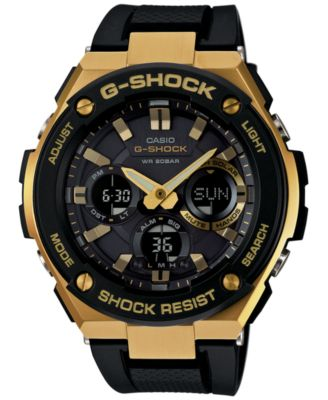 GShock Mens AnalogDigital Black and Gold Black Silicone Strap