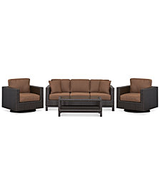 CLOSEOUT! Katalina Outdoor Wicker 4-Pc. Seating Set (1 Sofa, 2 Swivel Gliders and 1 Coffee Table), with Sunbrella® Cushions, Created for Macy's