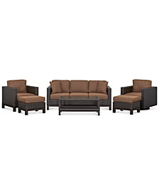 CLOSEOUT! Katalina Outdoor Wicker 6-Pc. Seating Set (1 Sofa, 1 Club Chair, 1 Swivel Glider, 1 Coffee Table and 2 Ottomans), Created for Macy's