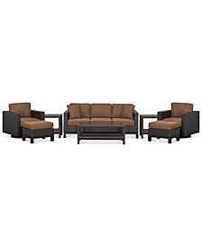 CLOSEOUT! Katalina Outdoor Wicker 8-Pc. Seating Set (1 Sofa, 2 Swivel Glider, 1 Coffee Table, 2 Ottoman, and 2 End Tables), with Sunbrella® cushions, Created for Macy's,