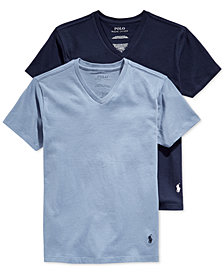 Polo Ralph Lauren 2-Pk. V-Neck Undershirts, Big Boys