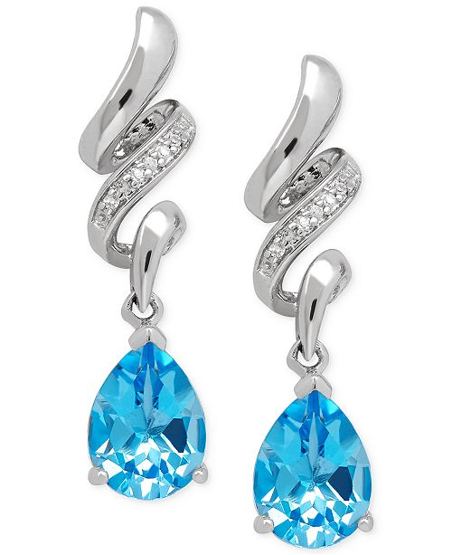 Macy's Blue Topaz (2-5/8 ct. t.w.) and Diamond Accent Squiggle Earrings in Sterling Silver