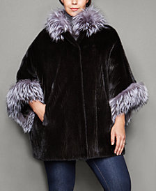 The Fur Vault Plus Size Fox-Trim Ribbed Mink Fur Cape