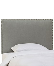 Chante Twin Linen Button Border Headboard, Quick Ship