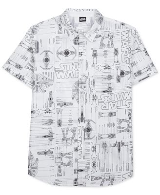 Mens star wars blueprint short sleeve shirt casual button down mens star wars blueprint short sleeve shirt malvernweather Choice Image