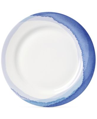 Indigo Watercolor Stripe Porcelain Dinner Plate, Created for Macy's