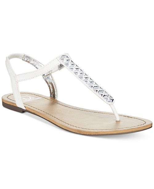 Material Girl Sage T-Strap Flat Thong Sandals, Created for Macy's