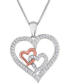 Diamond (1/4 c.t.t.w.) Double Heart Pendant Necklace in Sterling Silver and 10k Rose Gold