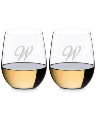 O Monogram Collection 2-Pc. Script Letter Chardonnay Stemless Wine Glasses