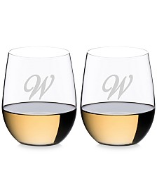 Riedel O Monogram Collection 2-Pc. Script Letter Chardonnay Stemless Wine Glasses