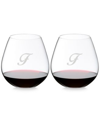 O Monogram Collection 2-Pc. Script Letter Pinot Noir Stemless Wine Glasses