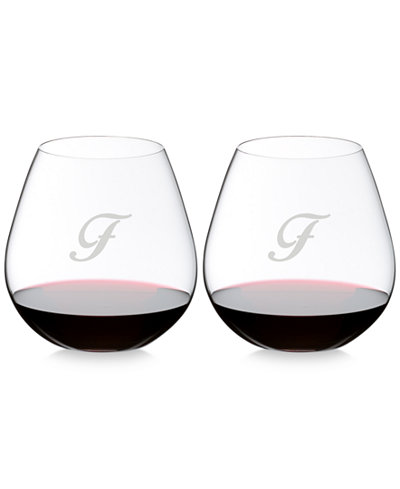 Riedel O Monogram Collection 2-Pc. Script Letter Pinot Noir Stemless Wine Glasses