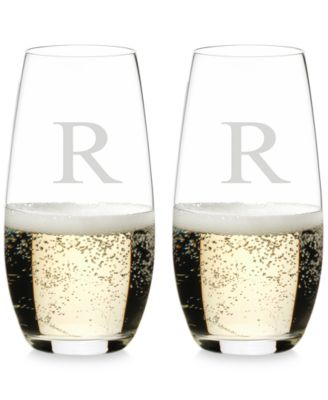 O Monogram Collection 2-Pc. Block Letter Stemless Champagne Glasses
