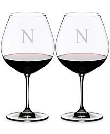Vinum Monogram Collection 2-Pc. Block Letter Pinot Noir Wine Glasses