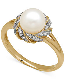 Cultured Freshwater Pearl (7mm) & Diamond Accent Ring in 14k Gold