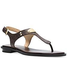 MK Plate Signature Logo Flat Thong Sandals